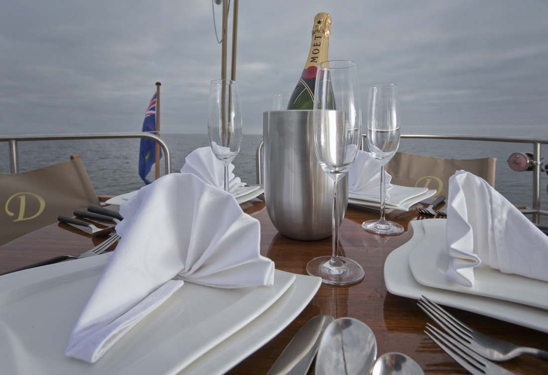 Domicil yacht hotel aft deck dining